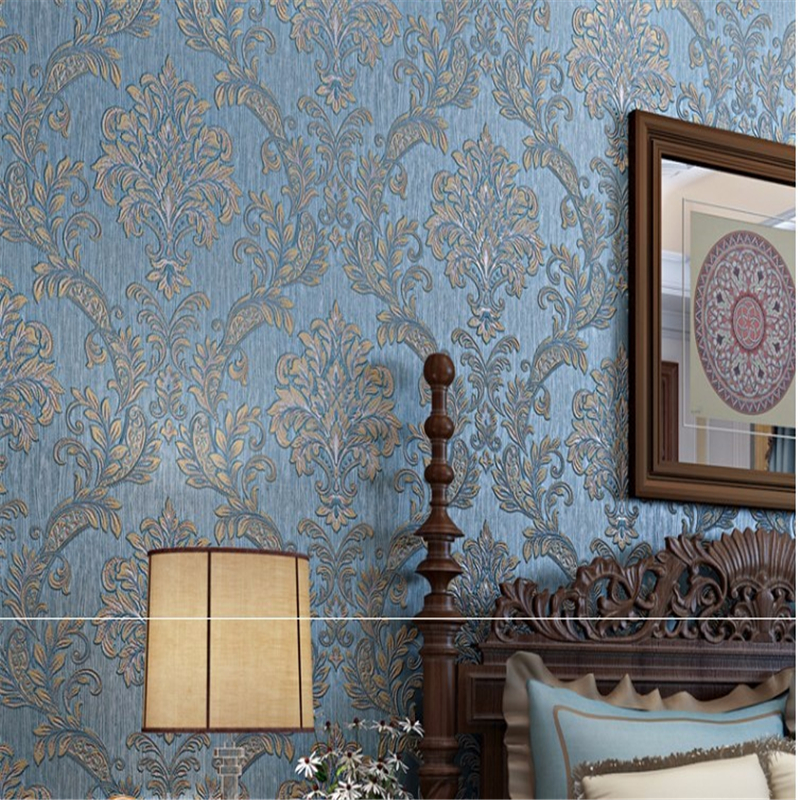 Beibehang3D wallpaper Damascus romantic wedding room luxury living room bedroom pink l blue yellow background 3D wallpaper blue earth cosmic sky zenith living room ceiling murals 3d wallpaper the living room bedroom study paper 3d wallpaper