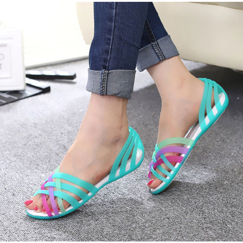 MCCKLE Women Jelly Shoes Rainbow Summer Sandals Female Flat Shoes Ladies Slip On Woman Candy Color Peep Toe Women's Beach Shoes