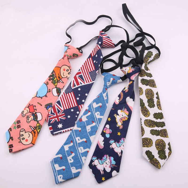 Corbata de lona de dibujos animados de 2019 para mujeres Lazy Pre-atado estudiantes de goma de banda de cuello corbata de bebé para niños y niñas corbata delgada de 7 cm