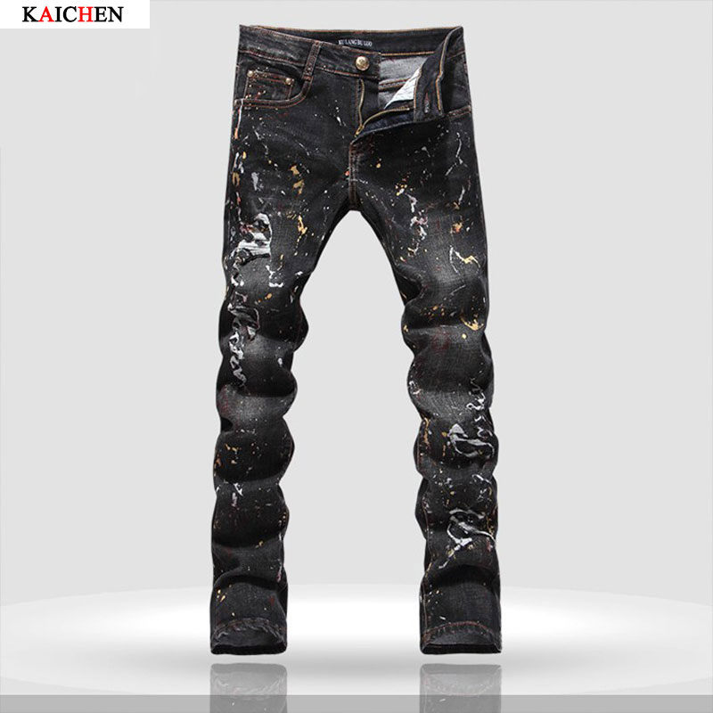 ФОТО 2016 New Men's hole patch ripped jeans Slim fit patchwork print denim pants Fashion Black long trousers Plus Size 28-40
