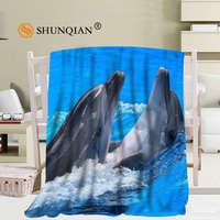 שמיכת צמר רך דולפינים קופצים מותאם אישית DIY שלך גודל חדרי שינה קישוט תמונת 58x80 Inch, 50X60 Inch, 40X50 Inch A7.10