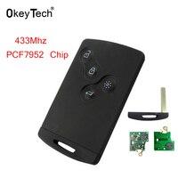 OkeyTech 4 Buttom For Renault Smart Card 433Mhz PCF7952 Chip Remote Key For Renault Megane Laguna