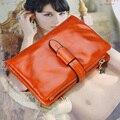100% Aceite de Cera de Cuero Genuino del Zurriago Mujeres de la Carpeta 3 fold Moda Vintage monedero de La Moneda con un diseño de cadena Corta 8 colores 1029