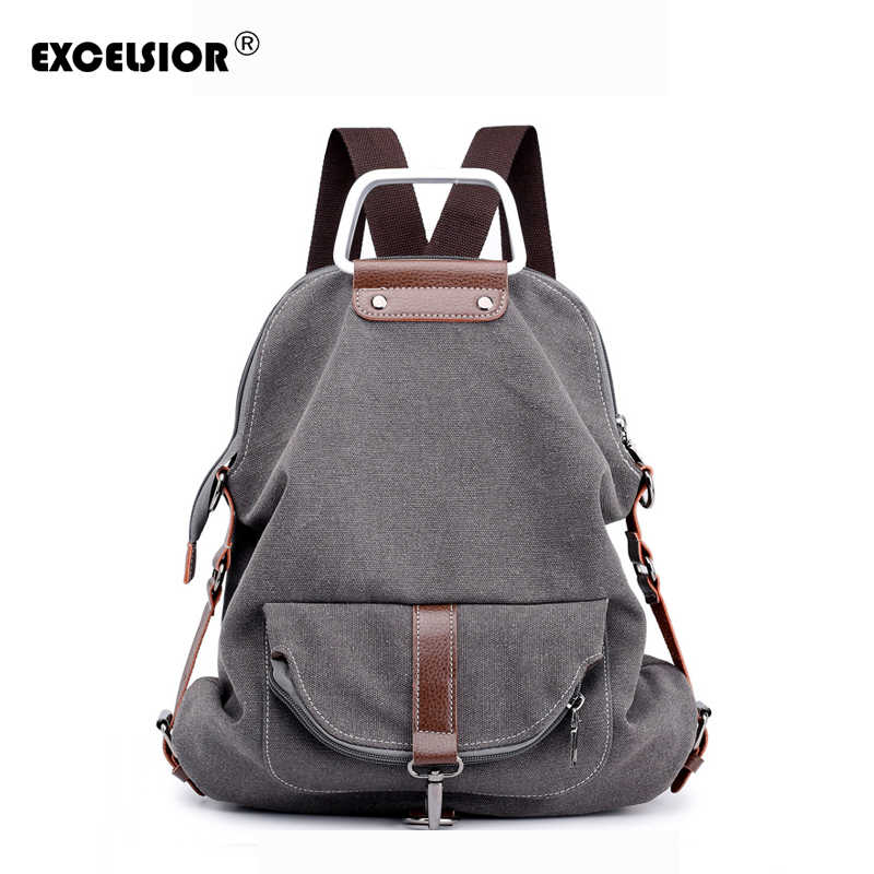 EXCELSIOR Fashionable Casual Simple Canvas School Backpack High Quality Canvas  Woman Backpack Vintage Solid School Style 7665ebac18e47