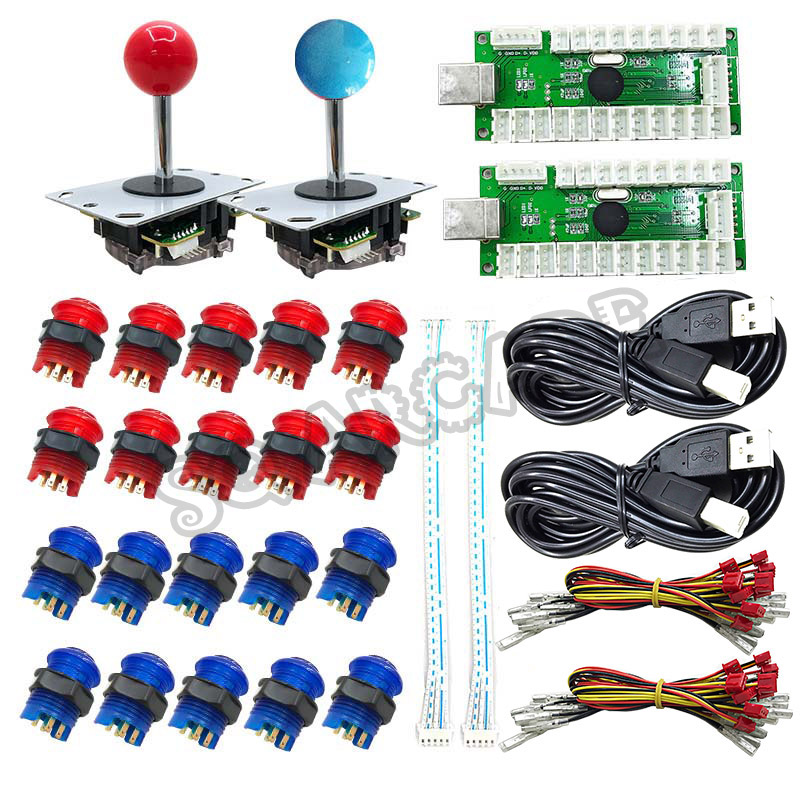 2 Player Control USB Encoder To PC Games 2 Rocker + 20 LED Illuminated Push Buttons For Arcade Joystick DIY Kits Parts