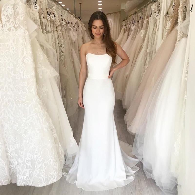 Elegant Long Beach Wedding Dress Strapless Mermaid Style Bohemian Bridal Dress Chapel Train White Ivory Vestido De Noiva