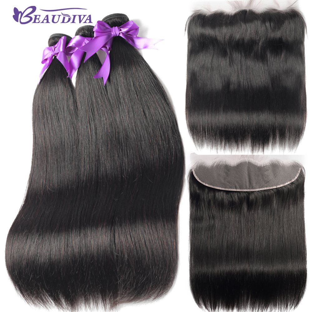 Beaudiva Brazilian Straight Hair Bundles With Frontal Closure Human Hair Weave Bundles With Lace Front Closure