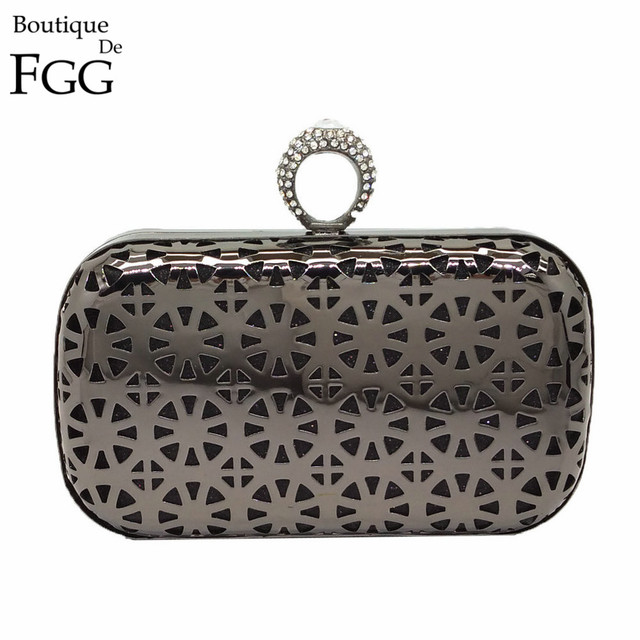 Women's Knucklebox Crystal Ring Clasp Hollow Out Metal Evening Clutches Purse Gold Wedding Party Cocktail Handbag Clutch Bag