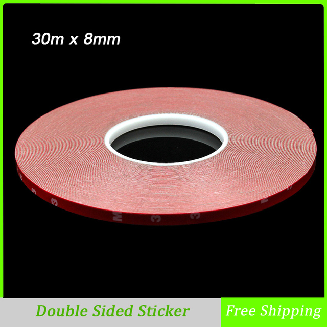 30m x 8mm Double Sided Tape Sticker Acrylic Foam Adhesive, Car Interior Exterior Accessories Tape Free Shipping