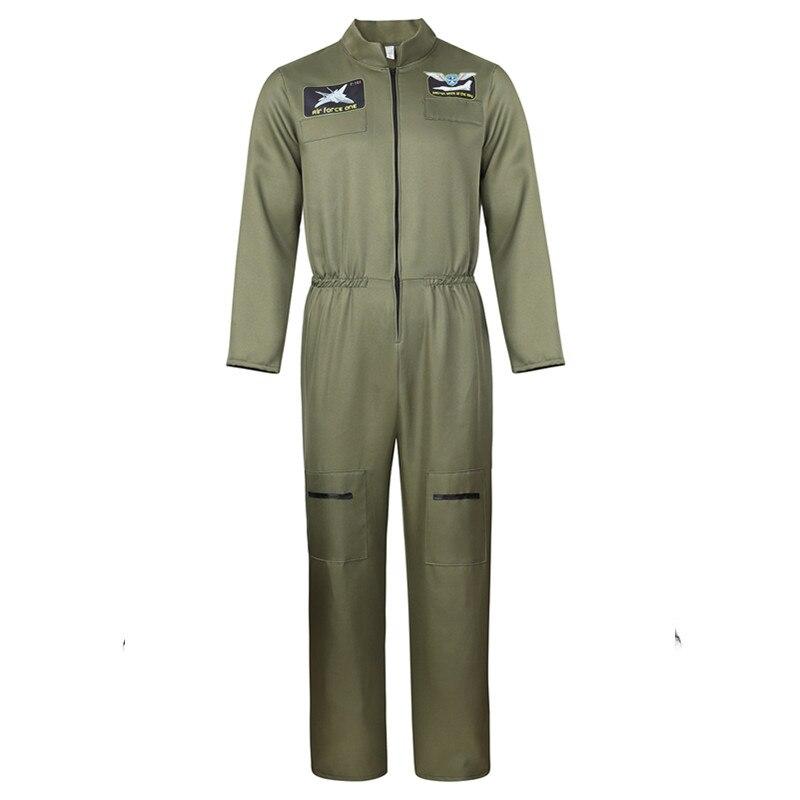 Adult Flight Suit Pilot Costume Mens Army Green Jumpsuit Long-Sleeve Zipper Coveralls Movie Top Gun Cosplay Suit Plus Size