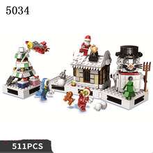 Legoed arctic Winter White Christmas Tree Santa Claus present box gift legoed Train LepinS Airship Legoingly Building Block Toy(China)