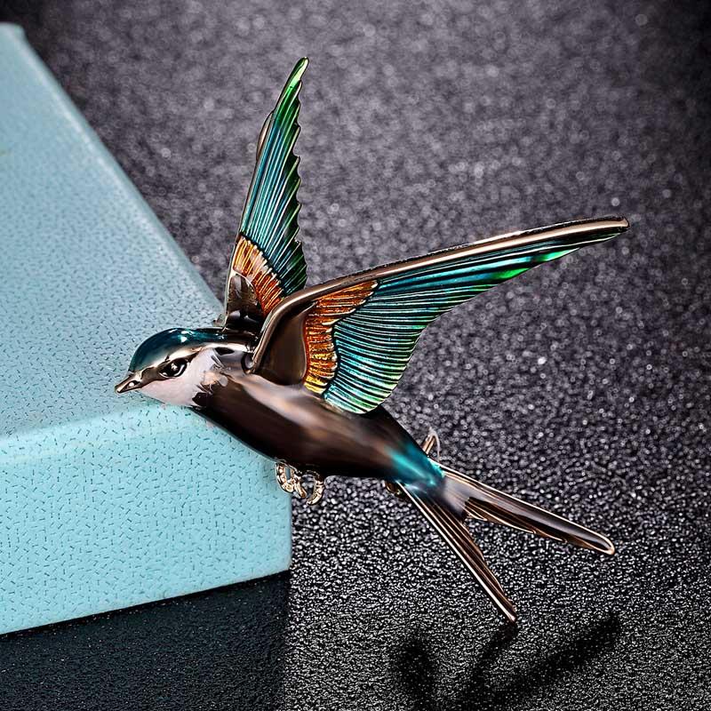 Zlxgirl jewelry Enamel Swallow Bird Shape brooch bouquet for men fashion women's kids Gifts gold color hijab pins bags jewelry