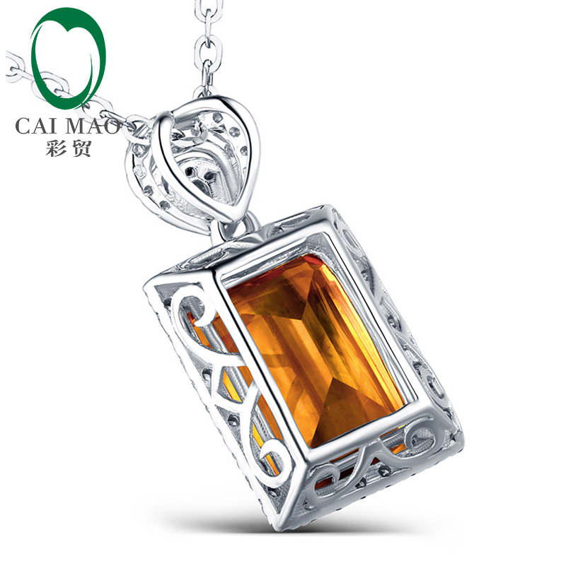 Emerald Cut 3.15ct Citrine & 0.20ct Diamond Accented Engagement 14kt White Gold Pendant Caimao Jewelry - 2