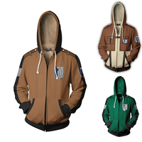Attack on Titan Hoodie Cosplay Costume 3D Print M Casual Zipper Jacket Sweatshirt