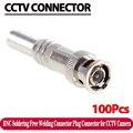 100 pçs/lote Coaxical Cabo BNC Conector Macho para RG-59, bronze Final, friso, cabo Screwing, CCTV Câmera conector BNC
