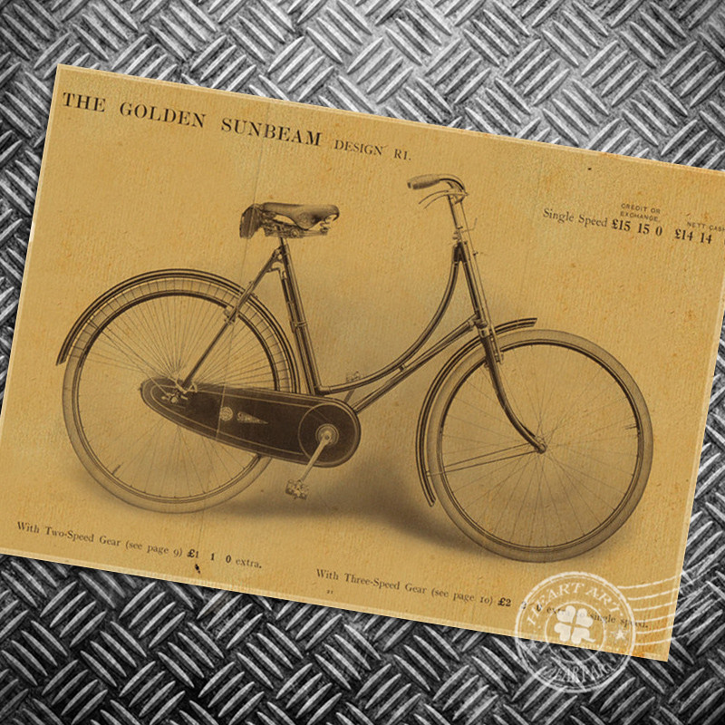 Vintage posters ride bicycle photo painting retro wall art bike ...