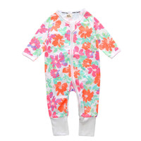 Floral Print Cotton Newborn Baby Girls Pajama Romper Climb Clothes Outwear Footed Cover Baby Sleepwear Photo