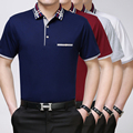 High quality summer  men's casual business solid color polo shirt silk cotton shirt
