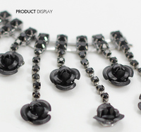 Black Shell Flower Rhinestones Chain Clothing Costume Applique Embellishment Trim Lace Rope Reel Chain Sewing Supplies