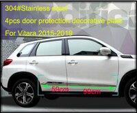 304#Stainless steel 4pcs car side door body decorative bar,scuff trim,protection strip with logo for Suzuki Vitara 2015 2019