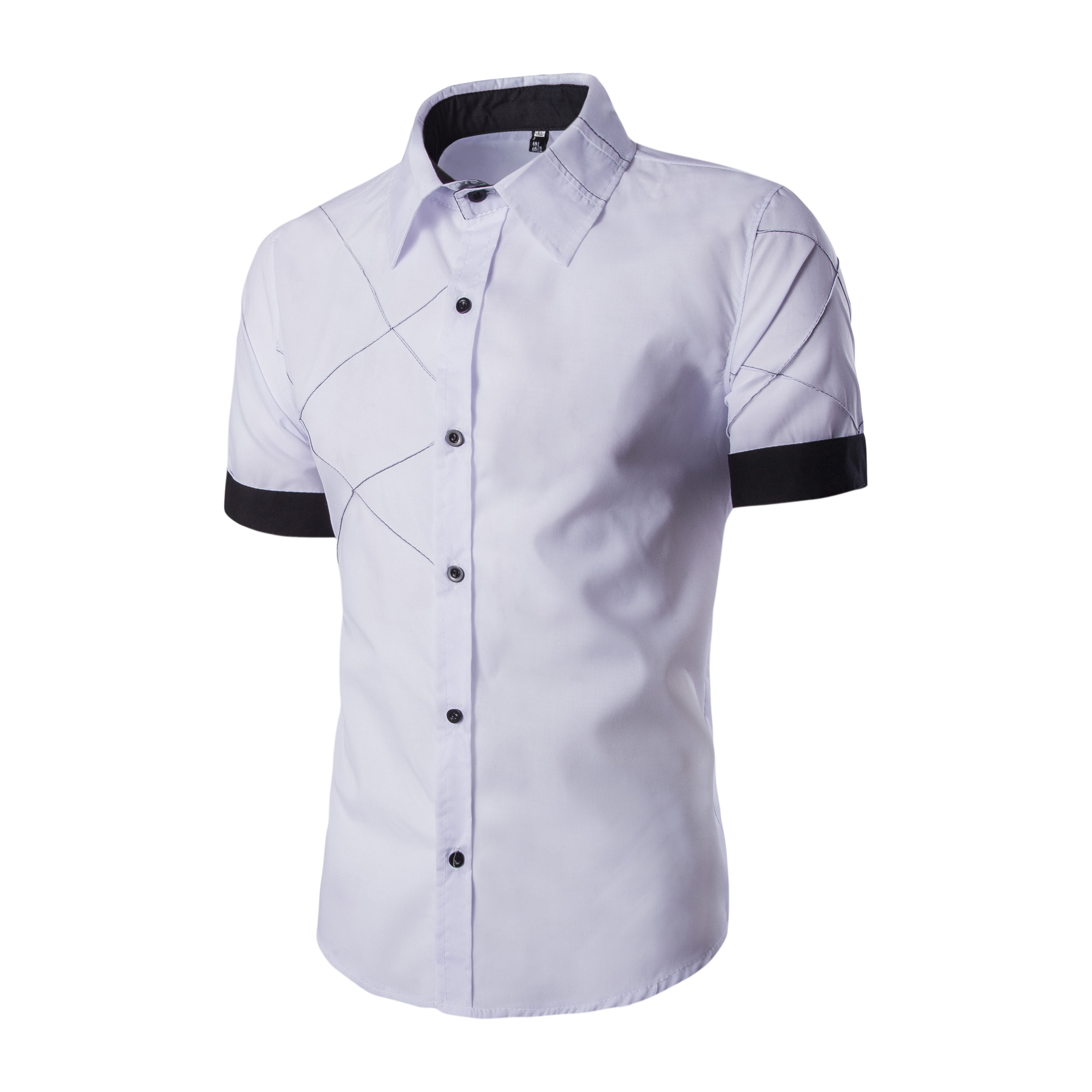 Male's Tops New Summer Men's White Shirt Men's Casual Shirts Turn-Down Collar Short Sleeves Shirt Solid Fashion 2019 D40