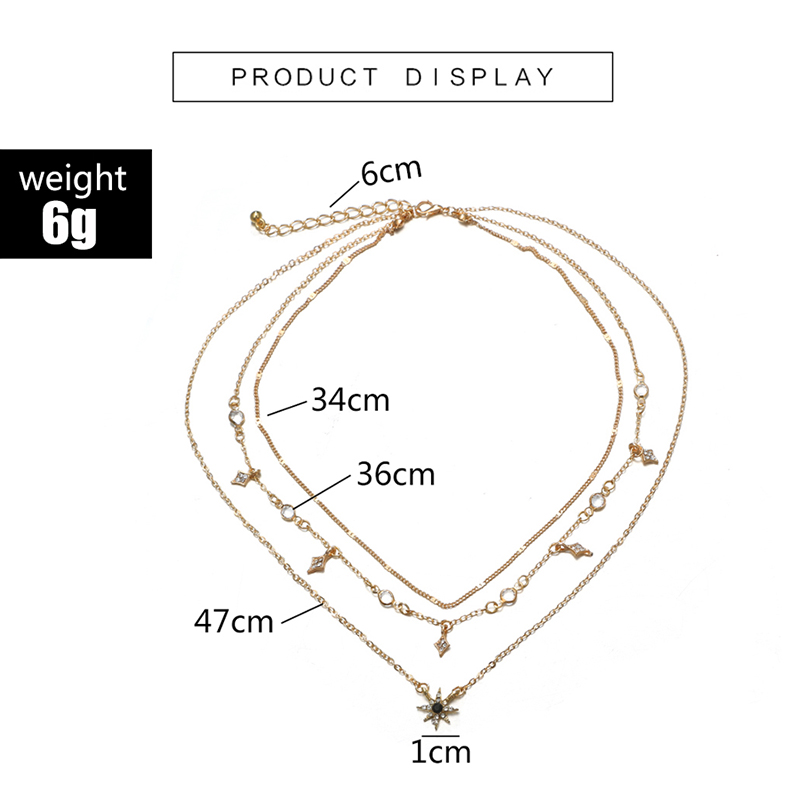 HuaTang Star Moon Pendant Necklace Boho Geometric Crystal Layered Necklaces for Women Girl Waterdrop Opal Collar Choker Jewelry 19