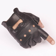 YJSFG HOUSE 1Pair Men Gloves Mittens Leather Hip Hop Outdoor Black Soft Leather Driving Motorcycle Biker Fingerless Male Gloves