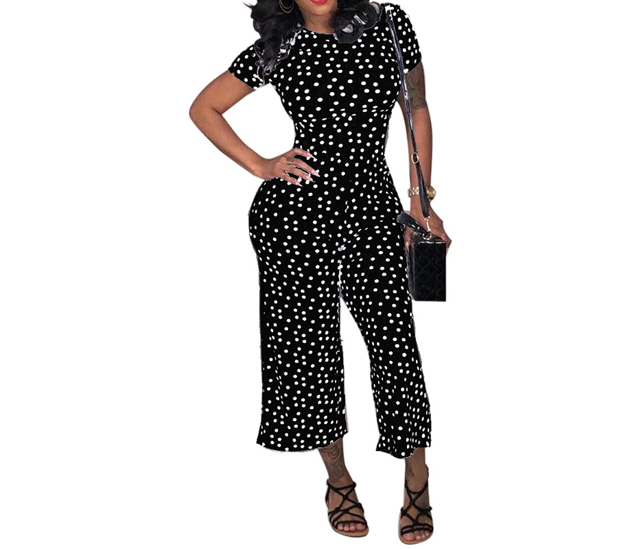 6480d8756130 HAOOHU Black White Polka Dot Sexy Jumpsuit Plus Size Casual Clothes ...