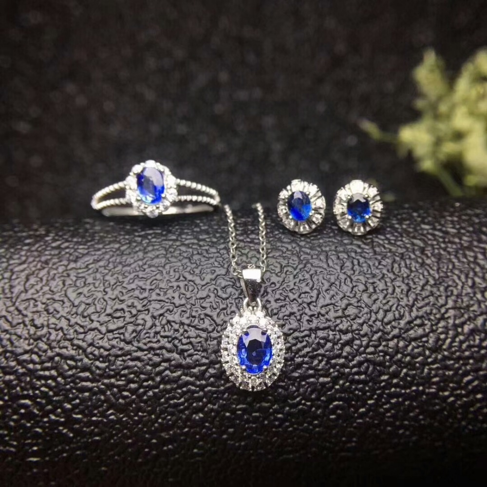 MeiBaPJ Natural Sri Lanka Sapphire Gemstone Jewelry Set 925 Sterling Silver 3 Siut Fine Jewelry for Women цена