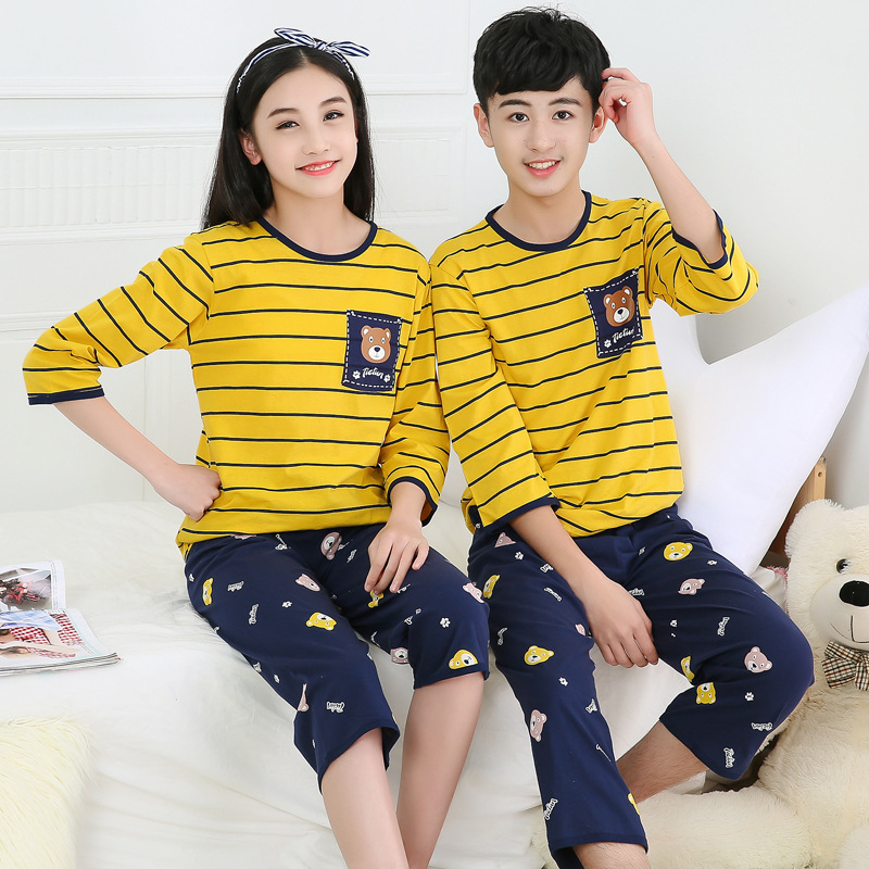 2019 Cotton Boys Girls Pajamas Summer Short Sleeve Kids Pyjamas Teen Girls Clothing Boys Clothes 10 Years Set Children Pyjama 1