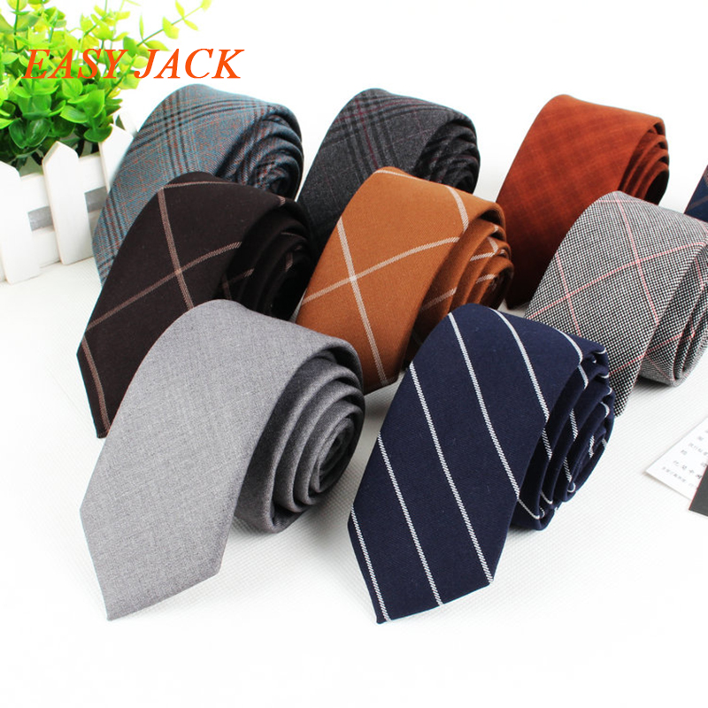6cm Narrow Width Ties For Men Fashion Cotton Hand Made Business And Leisure Neckwear Plaid And Stripy Skinny Marriage Style Of M