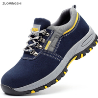Fashion Safety Shoes Men Steel Toe bot leather Work Shoes Breathable EHS Safety boots Wear resisting Puncture proof