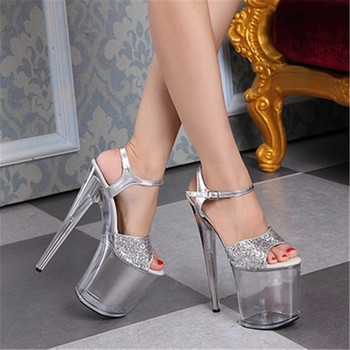 Sweet summer transparent 20cm sequined upper high heel sandals, dinner super thick waterproof platform, dancing shoes
