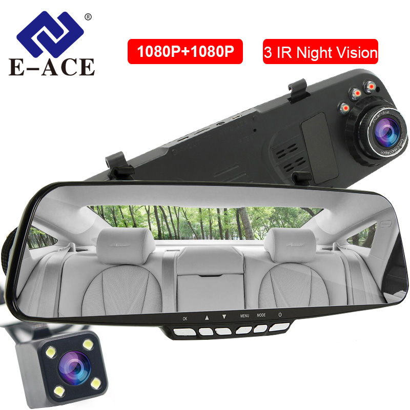 E-ACE Car Dvr Mirror Video Recorder 4.3 Inch Dashcam 1080P+1080P Auto Registrar 3 IR Night Vision DVRs with Rear View CameraE-ACE Car Dvr Mirror Video Recorder 4.3 Inch Dashcam 1080P+1080P Auto Registrar 3 IR Night Vision DVRs with Rear View Camera