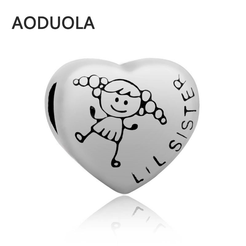 2Pcs Lot Stainless Steel Heart shape with sister Beads DIY Big Hole Bead for Jewelry Making Fit For Pandora Bracelet