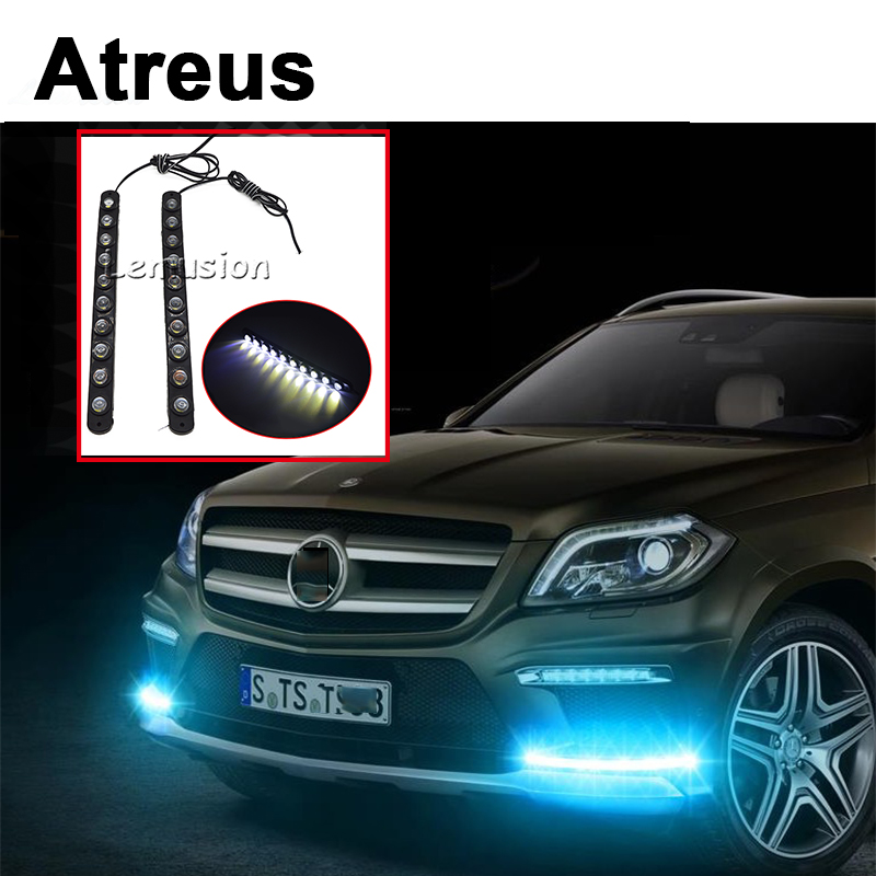 Atreus 2pc For Lexus Honda Civic Opel astra h j Mazda 3 6 Kia Rio Ceed Volvo Lada Car Daytime Running Light DRL Fog Lamp 10 LED for opel astra h gtc 2005 15 h11 wiring harness sockets wire connector switch 2 fog lights drl front bumper 5d lens led lamp