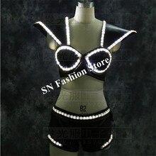 Lz22 белый светодиод костюм led подсветкой жилет световой бюстгальтер женщин светодиодный шоу на сцене носит одежду Sexy DJ певица платья LED костюмы Штаны