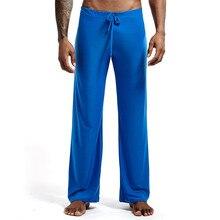 6 renkler Seksi erkek Yoga Pantolon Buz Pijama Erkekler Uyku Dipleri Pijama Ev Pijama Gece banyo Pantolon Elbise