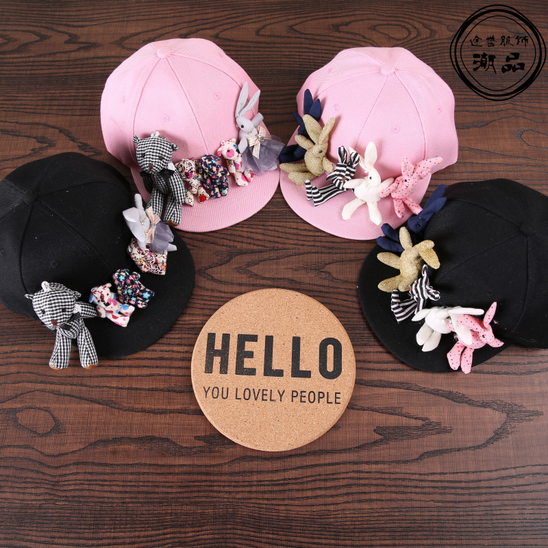 Prix pour Mode coréenne de bande dessinée ours lapin casquettes de baseball enfants à la mode à la main mignon chapeaux de soleil vacances casual Visor snapback caps pour 3-7
