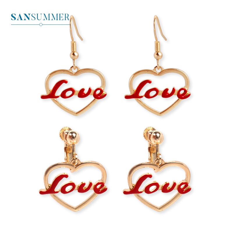 ୧ʕ ʔ୨Fashion Hollow Heart Drop Earrings Sweat Red Love Letter ...