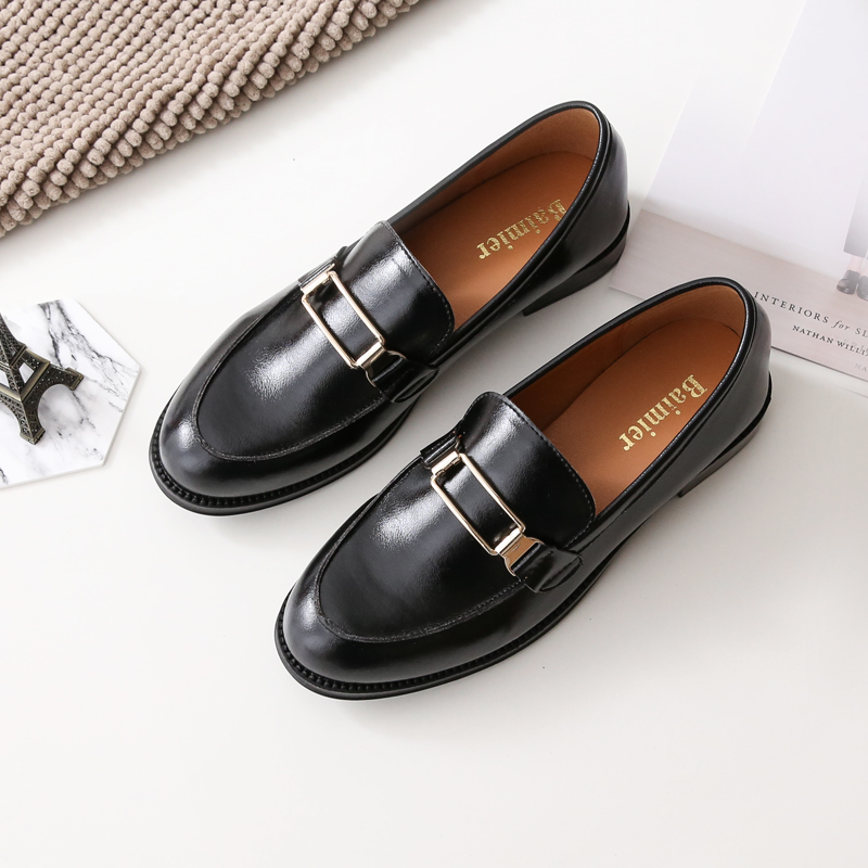 Luxury brand cowhide Leather flat shoes women loafersRetro slip on women shoes Moccasins British casual Flats Ballet Footwear