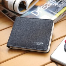 Designed pockets holders multi man retro canvas zipper wallets male small