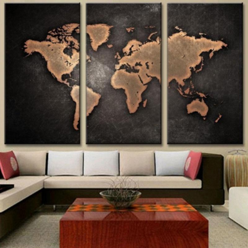 Big Piece Wall Art World Map Oil Painting Decorative Panels Canvas - 3 piece world map wall art