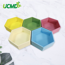 Magnetic Sticker Hexagon Organizer Storage Box Bins Wooden Holder Punch free Wall Stickers Room Kitchen Home Boxes Decor