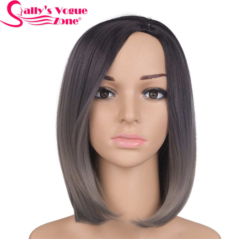 Sallyhair 12inch Japanese High Temperature Fiber Synthetic Centre Part Short Black Dark Grey Color Bob Wigs For Women