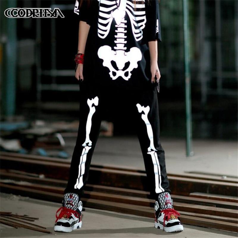 Summer Fall Female Reflective Skeleton Casual Harem Pants Women Fashion Slim Cotton Long Pants Hip Hop Rock Streetwear Trousers