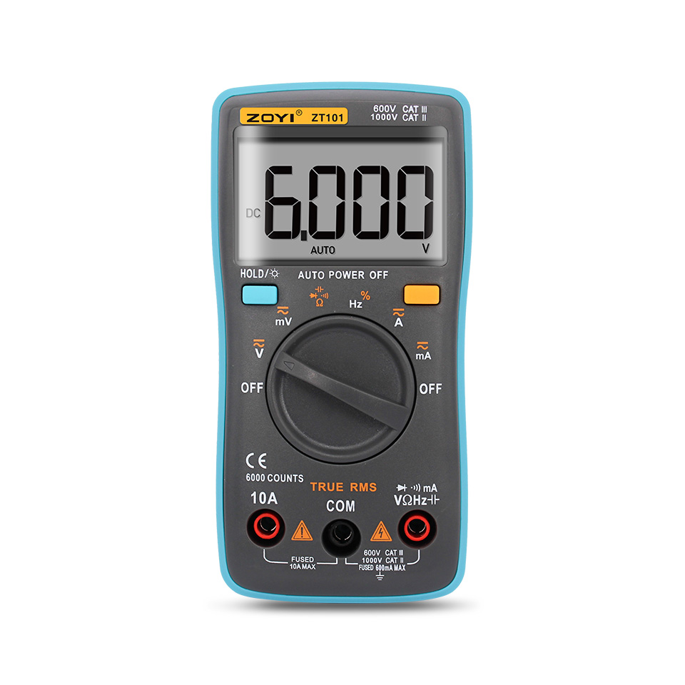 1 Set Digital Multimeter 6000 counts Backlight AC/DC Ammeter Voltmeter Ohm Portable Meter SF647 mini multimeter holdpeak hp 36c ad dc manual range digital multimeter meter portable digital multimeter