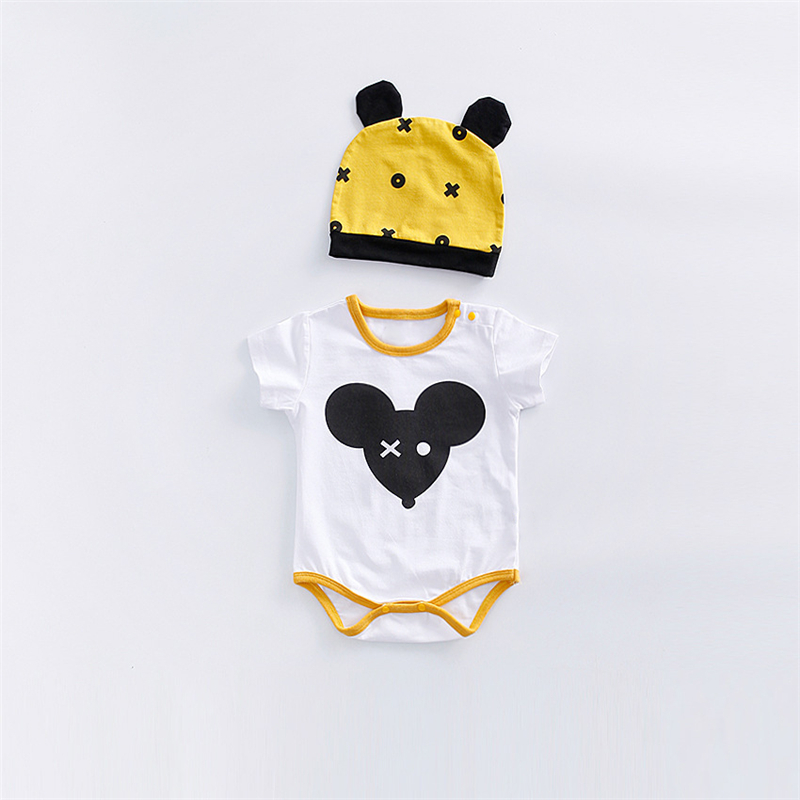 2018 cute baby baby clothes Summer Triangle leotard summer newborn clothing cotton short sleeved cartoon animals cat mouse Rompe