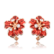 Unique Design Red Sexy Flower Rose Gold Color Stud Earrings Wholesale Women Cubic Zirconia Earing E00959