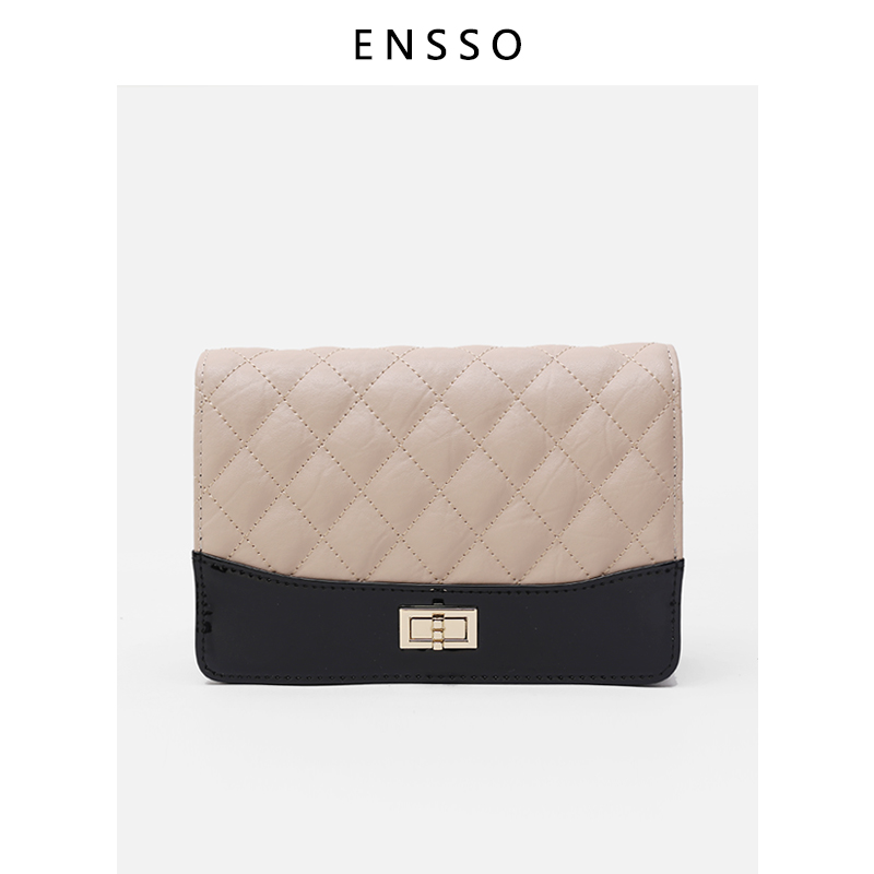 Princess sweet lolita bag ENSSO Diamond pattern chain Small fragrant leather bag with a single shoulder bag women ENSSO 113